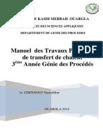 Manuel des Travaux Pratiques de transfert de chaleur 3 éme Année Génie des Procédés