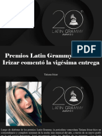 Tatiana Irizar - Premios Latin Grammy, Tatiana Irizar Comentó La Vigésima Entrega