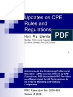 Updates on CPE Rules and Regulations by Hon. Ma. Elenita B. Cabrera
