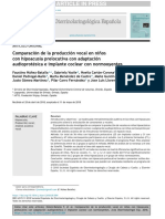 Comparación de la producción vocal en ninos con hipoacusia prelocutiva con adaptación audioprotésica e implante coclear con normooyentes