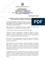 Mb - Comunicado 16-XI - Conselho Da Europa - Propostas de Mendes Bota Para Regulamentar o Lobbying Aprovadas