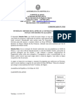 MB - COMUNICADO 17-XI - PETRÓLEO -MENDES BOTA OPÕE-SE À CONTRATUALIZAÇÃO DE NOVAS CONCESSÕES NO ALGARVE