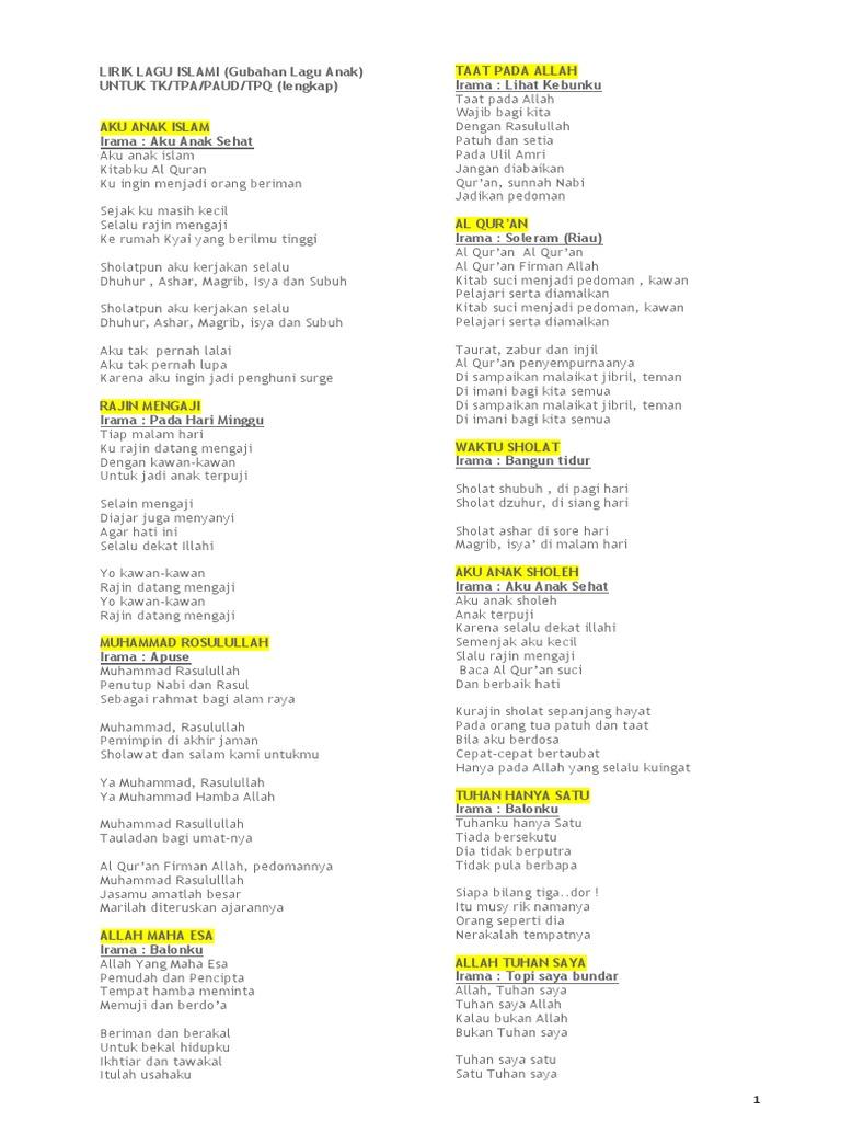 20 Lirik Lagu Islami   PDF