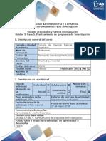 Guía de actividades y rúbrica de evaluación -  Fase 5.  Planteamiento de  propuesta de Investigación