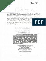Secretary Certificate 1999