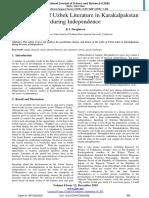 Development of Uzbek Literature in Karakalpakstan during Independence