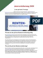Deutschland - Private Rentenversicherung 2020