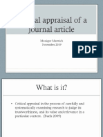 Critical Appraisal of a journal