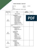 Report Progress Checklist