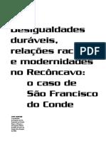 Desigualdades duráveis, relações raciais e modernidades no Recôncavo - o caso de São Francisco do Conde