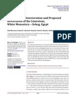 Evaluation of Deterioration and Restoration of the Limestone, White Monastery—Sohag, Egypt