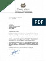 Carta de felicitación del presidente Danilo Medina a Pedro Sánchez con motivo de su juramentación como presidente del Gobierno Español