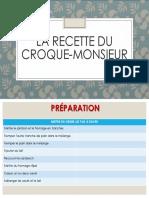 LA RECETTE DU CROQUE-MONSIEUR
