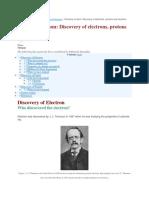 discovery elctron, proton and neutron