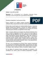 Presidente Piñera anuncia reforma que mejora las pensiones