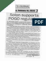 Peoples Journal, Jan. 16, 2020, Solon supports POGO regulation.pdf