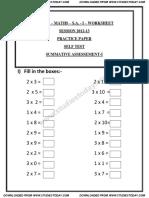 CBSE Class 1 Maths Question Paper SA 1 2013