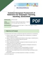 """Acção de Formação """"Common European Framework of Reference for Languages"""