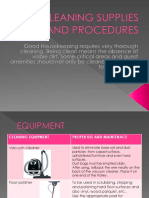 CLEANING SUPPLIES AND PROCEDURES- equipment,supplies