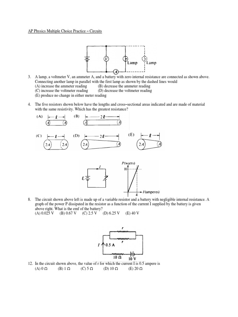 Circuits Mc Practice Problems Volt Series And Parallel Circuits [ 1024 x 768 Pixel ]