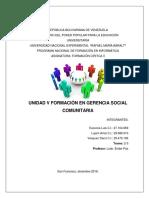 UNIDAD V FORMACIÓN EN GERENCIA SOCIAL COMUNITARIA.