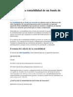 Cálculo de la rentabilidad de un fondo de inversión