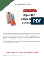Bypass FRP Google account Moto E4 Plus