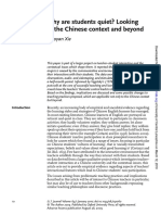 Xie, X. (2010). Why are students quiet - Looking at the Chinese context and beyond. ELT Journal 64(1), 10 - 20.