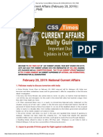 Day by Day Current Affairs (February 20, 2019) _ MCQs for CSS, PMS