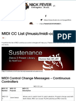 MIDI CC List
