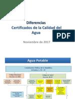 Diferencias certificados de calidad de agua