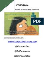 Programa Festival Internacional de Poesía 2010 Zacatecas