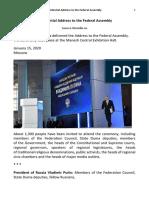 Vladimir Putin Presidential Address to Nation 15 Jan 2020