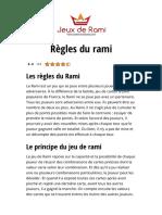 Les règles du Rami sur Jeux de Rami