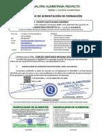 Certificado Manipulador Alimentos Multisectorial