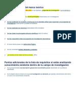 Lista de requisitos del marco teórico