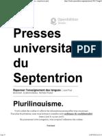 Repenser l'enseignement des langues - Plurilinguisme, compétences partielles et éveil aux langues - Presses universitaires du Septentrion