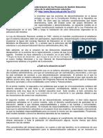 Actualización y Modernización de los Procesos de Gestión Educativa