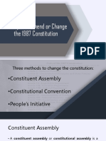 Attempts to Amend or Change the 1987 Constitution