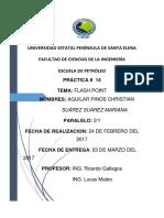 UPSE 2-1  PETRÓLEO Práctica # 14 - 15 AGUILAR CHRISTIAN y SUÁREZ MARIANA.
