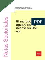 BOLIVIA Mercado del agua y el saneamiento