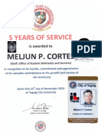 TCU 2019 Certificate Recognization SERVICE AWARD 5 Years