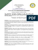 Barangay Ordinance Number 10 Araw ng Barangay