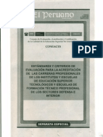 ESTÁNDARES Y CRITERIOS DE EVALUACIÓN PARA LA ACREDITACIÓN DE LAS CARRERAS PROFESIONALES DE LOS INSTITUTOS Y ESCUELAS DE EDUCACIÓN SUPERIOR TECNOLÓGICOS Y ESCUELAS DE FORMACIÓN TÉCNICO PROFESIONAL DE LOS SECTORES DEFENSA E INTERIOR