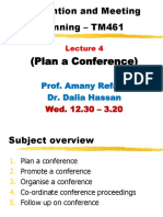 Lecture 4 - Convention and meeting Planning