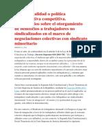 COMENTARIOS SOBRE OTORGAMIENTO DE BENEFICIOS A TRABAJADORES NO SINDICALIZADOS
