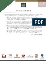 Comunicado N° 004-2020-CE