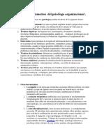 Técnicas o instrumentos  del psicólogo organizacional