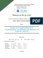 Etude Sur l'Applicabilité de La Cryptographie Asymétrique Aux Réseaux de Capteurs Sans Fil