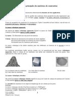 Caracteristiques des materiaux de construction